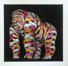 Otto Schade - Gorilla male grey spray yellow-red-pink - 2016 - 54cm x 54cm - 1/1 Hand finished screen print Somerset paper 300 grs - Ministry of Walls Street Art Gallery Shop
