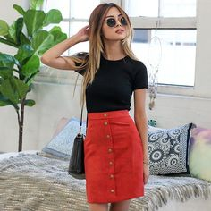 The gorgeous @lilymaymac in our new 'Button Up' skirt Love this colour!