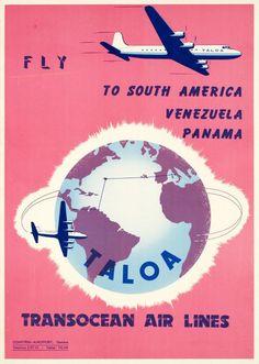 TALOA, Transocean Air Lines, fly to South America, Venezuela, Panama