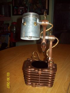 industrial steampunk Cylinder piston lamp by designsbytracym, $140.00