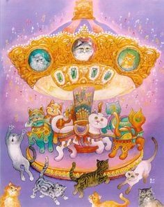 Many cats paintings. Bill Bell - Cat Carousel.