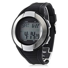 unisex Rate Monitor cornice d'argento orologio da polso nero cuore di silicone banda digitale – EUR € 16.55
