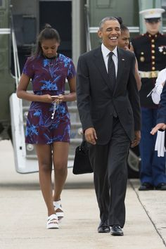 President Obama and Sasha depart for their family vacation to Martha's Vineyard. - MarieClaire.com