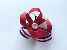 Patriotic Hair Bow for Girls - Loopy Hair Bow - July 4 Ribbon Hair Bow - Red, White, and Blue Mini Hair Clip - Ponytail Clip for Toddler -  by CuteAsaButtonbyAmy on Etsy https://www.etsy.com/listing/232718120/patriotic-hair-bow-for-girls-loopy-hair