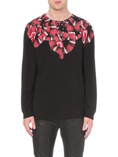 MARCELO BURLON Snake print cotton-jersey sweatshirt