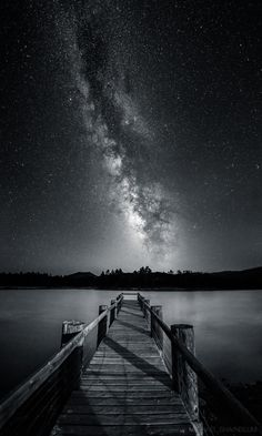 """Serenity In Monochrome by Michael Shainblum """"A black and white vertical panorama of Lake Cuyamacain eastern San Diego. The Milky Way was blazing over head. Black And White Stairs, Black And White Picture Wall, Black And White Landscape, Black And White Aesthetic, Black And White Pictures, Galaxy Black And White, Monochrome Photography, Black And White Photography, Landscape Photography"""