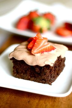 rich chocolate cake with chocolate protein frosting.