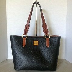 Artfully embossed, our exotic ostrich leather turns heads in every color. Shopper Tote, Gold Leather, Tote Handbags, Dooney Bourke, Cami, Michael Kors, Ebay, Black, Crocheted Purses