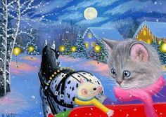 Kitten cat mouse appaloosa horse sleigh Christmas snow OE aceo print art