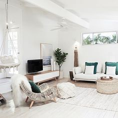 From beach shack to ultimate seaside pad with Three Birds - The Interiors Addict Decor, Hanging Chair Outdoor, Coastal Living Rooms, Bedroom Decor, Home Decor, Lounge Room, Room, Room Decor, Room Interior