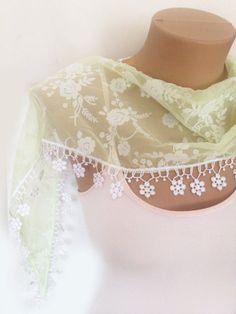 Lime Green Scarf   Lace Scarf  Mint Scarf  Bridesmaid by MaxiJoy, $13.50