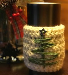 Chrsitmas cozy.....keep your coffee hot or that beer cold this holiday! Available at https://www.etsy.com/listing/573425965/christmas-tree-coffee-cozy?ref=shop_home_active_1