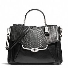 MADISON SADIE FLAP SATCHEL IN GLITTER PYTHON