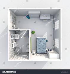 #3d #interior #rendering #plan #view of #square #furnished #hotel #room #apartment: room, bathroom, bedroom, hall, entrance, door, window,