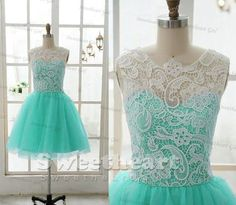 Custom Made Round Neckline Green Tulle Short Lace Bridesmaid Dresses, Lace Prom Dresses, Formal Dresses