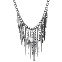 Crafted Spike Chain Necklace ($16) ❤ liked on Polyvore