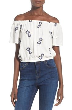 ASTR Embroidered Off the Shoulder Top available at #Nordstrom