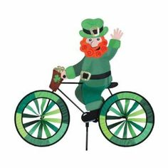 Leprechaun Bicycle Spinner - Decorating a Garden for St. Patrick's Day