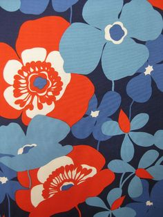 Alexander Henry, HOME DEC, Sofia Navy. Reminds me of the wallpaper in our bathroom when I was little