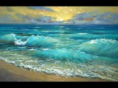 Turquoise water Palette knife Oil painting - YouTube