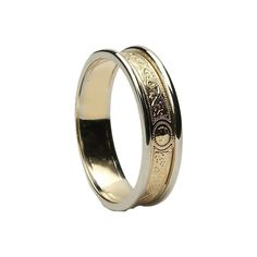 Ladies Warrior Shield Band-Yellow Centre with White Gold Trims