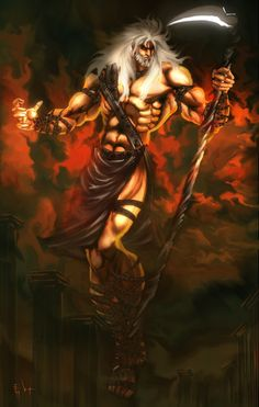Cronus was usually depicted with a sickle or scythe, which was also the instrument he used to castrate and depose Uranus, his father. Cronus was the father of the Olympic gods of Hades,Zues,Posiedon,Hera,Demiter, and Hestia.Cronus was a Titan