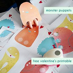 free printable download - paper monster finger puppets valentine's cards for kids from SmallforBig.com #valentines