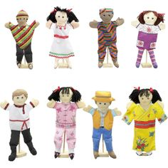 'CHILDREN FROM AROUND THE WORLD' PUPPETS 8 Full Bodied, Soft Puppets Representing Children From Around the World.   The 'Children From Around the World' Puppets include: a Peruvian boy; a Mexican girl; an African boy; an American girl; a Russian boy; a Chinese girl; an Australian boy; and a Japanese girl.