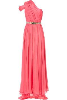 Coral One Shoulder Silk Gown.... but for my wedding in a black and red