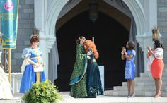 """Ladies and gentlemen, we have a new official Disney Princess! Merida, the heroine from the Disney●Pixar film, """"Brave,"""" was officially welcomed into Disney royalty earlier today in a ceremony held at Cinderella Castle at Magic Kingdom Park. Disney Destinations, Disney World Resorts, Walt Disney World, Disney Family, Disney Fun, Disney Pixar, Brave Disney, Official Disney Princesses, Disney Princesses And Princes"""
