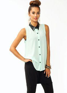 Leather Lover Blouse  http://www.gojane.com/88980-tops-leather-lover-blouse.html #white #buttons #black #leather #collar #shirt #blouse #sleeveless #spring #2014 #fashion #pretàporter