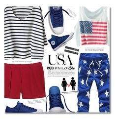 """""""Red, White and Blue Fashion"""" by dolly-valkyrie ❤ liked on Polyvore featuring Canvas by Lands' End, Converse, redwhiteandblue and july4th"""