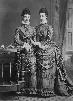 'I will order the 9 dresses you want,' Alexandra told her sister, 'but I think that it will be better to wait with the decolleté toilettes until you come they sew so quickly and some dresses at least we must have exactly alike.'  These identical frocks led the fashion for double dressing: Minnie and Alix wore the same costume on at least thirteen occasions that summer.