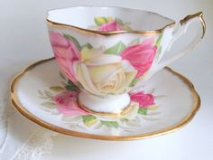 Lady Sylvia Bone China Teacup and Saucer / Queen Anne Cup and Saucer / English Bone China Tea cup and Saucer / Rose Cup / Bridal