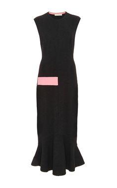 Dark Grey Point Blanka Sleeveless Dress by Mary Katrantzou