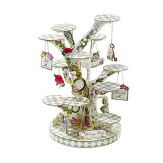 Alice in wonderland cupcake stand ~ cake stand ~ mad hatter tea party, garden decor ~ party decor ~ white rabbit ~ shabby chic, FREE invites