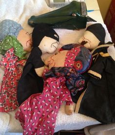 5 x 1950s full size punch & judy puppets , punch , crocodile etc.