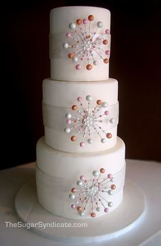 Modern Wedding Cakes of the Century - Retro three tier white wedding cake embellished with pink, orange and white pearl edible decorations. Beautiful Wedding Cakes, Gorgeous Cakes, Pretty Cakes, Cake Wedding, Gold Wedding, Amazing Cakes, Beautiful Flowers, Wedding Reception, Cake Pops