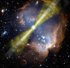 Físicos teóricos sugieren que solo el 10% de las galaxias podría albergar vida compleja lustración artística de una explosión de rayos gamma ocurrida en una región de nacimiento de estrellas. Crédito NASA Swift Mary Pat Hrybyk-Keith y John Jones (Wikipedia)