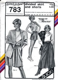 Amazon.com: Stretch & Sew Pattern 783 ~ Divided Skirt & Shorts Skorts ~ Hip 32-48: Arts, Crafts & Sewing