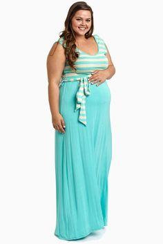 Mint-Striped-Top-Sash-Tie-Plus-Size-Maternity-Maxi-Dress
