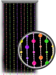 Click Image Above To Buy: Beaded Curtains - Black Light Reactive Neon Disco Balls Door Beads Black Curtains, Drapes Curtains, Emoji Room, Disco Licht, Beaded Door Curtains, Door Beads, Neon Room, Room Ideas Bedroom, Room Decor