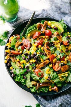 BBQ Chicken Salad with Avocado Cilantro Dressing http://www.recipesfeedfood.com/bbq-chicken-salad-with-avocado-cilantro-dressing/