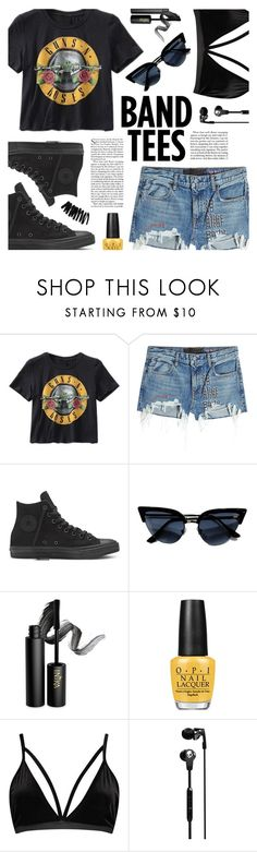 """With the Band"" by virginia-laurie ❤ liked on Polyvore featuring T By Alexander Wang, INIKA, OPI, Boohoo, Skullcandy and Bobbi Brown Cosmetics"