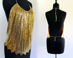 reserved . until June 2 . 70s Gold Draped Disco Metal Mesh Pleated Backless Glam Rocker Indie Zig Zag Halter Top Shirt . XS . SM . ABox
