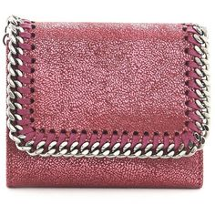 STELLA MCCARTNEY Square Shaggy Deer Leather Mini 'Continental' Wallet... (745 BRL) ❤ liked on Polyvore featuring bags, wallets, stella mccartney, mini chain bag, square wallet, stella mccartney wallet and red mini bag