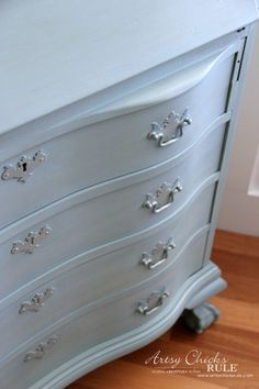 Secretary Desk Makeover (Chalk Paint® by Annie Sloan) - AFTER front - #duckeggblue #sp #chalkpaint artsychicksrule