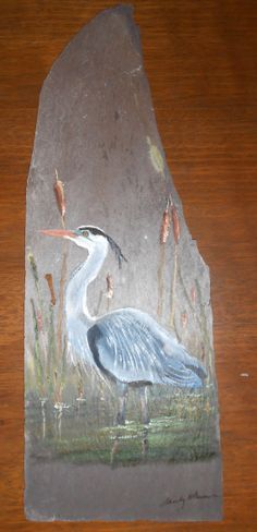 Great Blue Heron Original oil painting on Slate One Stroke Painting, Rock Painting, Diy Projects To Try, Craft Projects, Slate Art, Slate Signs, Wooden Boards, Beach Stuff, Mini Canvas