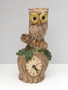 Owl Clock   Owl Ceramic Clock  Owl Collector by ZephyrhillsVintage, $32.00