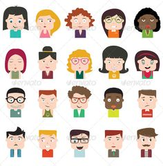 Avatars — Vector EPS #lovely #hairstyle • Available here → https://graphicriver.net/item/avatars/6473453?ref=pxcr